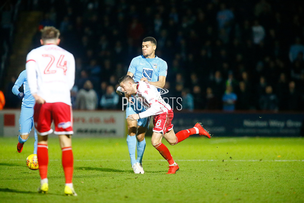 Stevenage's midfielder Harry Beautyman during the EFL Sky Bet League 2 match between Stevenage and Coventry City at the Lamex Stadium, Stevenage, England on 21 November 2017. Photo by Matt Bristow.