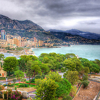 Overcast winter's day in Monaco, as the rains roll in from the sea and over the mountains.