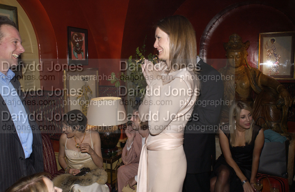 Lucy Ferry ( sitting) Plum Sykes, Cartier, Alexander McQueen and Viking hold a party  for Plum Sykes's book Bergdorf Blondes, Annabel's. 4 May 2004. SUPPLIED FOR ONE-TIME USE ONLY> DO NOT ARCHIVE. © Copyright Photograph by Dafydd Jones 66 Stockwell Park Rd. London SW9 0DA Tel 020 7733 0108 www.dafjones.com