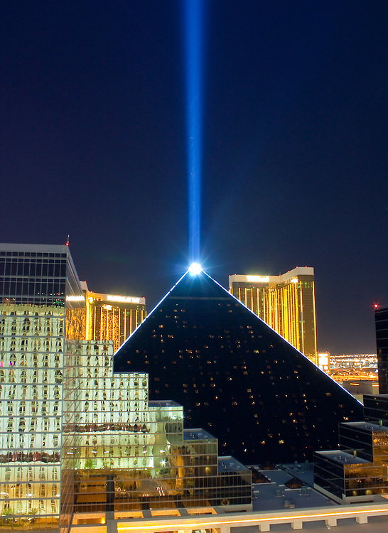 Laser beam emanates from the peak of the Luxor Hotel pyramid Las Vegas