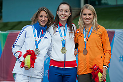 LE FUR Marie-Amelie, REID Stef, PRUYSEN Iris, 2014 IPC European Athletics Championships, Swansea, Wales, United Kingdom