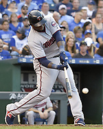 June 30, 2017 - Kansas City, MO, USA - The Minnesota Twins' Miguel Sano connects on an RBI single in the third inning against the Kansas City Royals at Kauffman Stadium in Kansas City, Mo., on Friday, June 30, 2017. (Credit Image: © John Sleezer/TNS via ZUMA Wire)