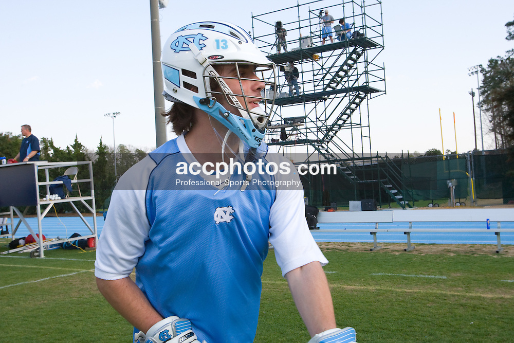 22 March 2008: North Carolina Tar Heels goalkeeper Jamie Locke (46) before playing the Maryland Terrapins at Fetzer Field in Chapel Hill, NC.