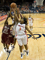 UVA's Paulish Kellum (3) tries to grab a rebound from BC's Kaydia Kentish (20). The Cavaliers defeated the Eagles 65-63 in overtime at the John Paul Jones Arena in Charlottesville, VA on January 14, 2007.