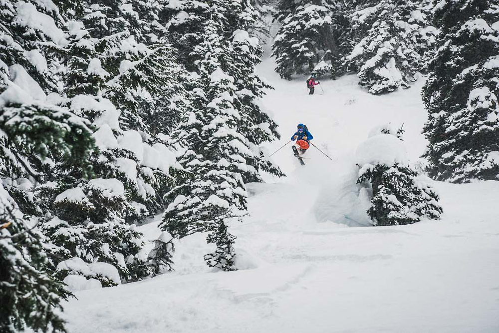 Joe Morabito takes a hit from the dong after 45cm's fell during a 12 hour period at Burnie Glacier, British Columbia.