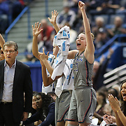 HARTFORD, CONNECTICUT- JANUARY 10: Katie Lou Samuelson #33 of the Connecticut Huskies celebrates a basket as head coach Geno Auriemma watches play during the the UConn Huskies Vs USF Bulls, NCAA Women's Basketball game on January 10th, 2017 at the XL Center, Hartford, Connecticut. (Photo by Tim Clayton/Corbis via Getty Images)