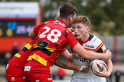 Bradford Bulls full back Ethan Ryan (2) in action  during the Kingstone Press Championship match between Dewsbury Rams and Bradford Bulls at the Tetley's Stadium, Dewsbury, United Kingdom on 10 September 2017. Photo by Simon Davies.