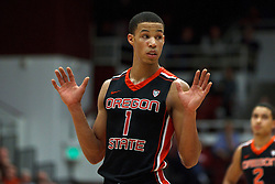 Feb 16, 2012; Stanford CA, USA; Oregon State Beavers guard Jared Cunningham (1) reacts after a play against the Stanford Cardinal during the second half at Maples Pavilion. Stanford defeated Oregon State 87-82. Mandatory Credit: Jason O. Watson-US PRESSWIRE