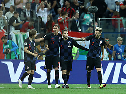 June 21, 2018 - Nizhny Novgorod, Russia - Group D Argentina v Croazia - FIFA World Cup Russia 2018.Luka Modric, Mario Mandzukic, Mateo Kovacic and Ivan Rakitic (Croatia) celebrate after the goal of 0-3 at Nizhny Novgorod Stadium, Russia on June 21, 2018. (Credit Image: © Matteo Ciambelli/NurPhoto via ZUMA Press)