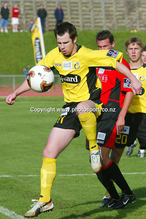 Wellington's Geoff Brown takes control of the ball during the 2 all draw on Newtown Park, Sunday afternoon. Soccer NZFC Round 1 17 October 2004.<br /> Photo: Marty Melville/Photosport