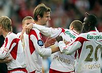 Fotball , 14. april 2007 , Tippeligaen , Fredrikstad - Lyn 3-1<br /> Øyvind Hoåas , Patrik Gerrbrand , og  Ismael Fofana , FFK