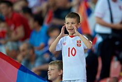 BELGRADE, SERBIA - Sunday, June 11, 2017: A young Serbia supporter before the 2018 FIFA World Cup Qualifying Group D match between Wales and Serbia at the Red Star Stadium. (Pic by David Rawcliffe/Propaganda)