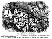 "The Great Coal Puzzle. Mr Bull (distracted by the Coal Ration Order). ""I can't make up my mind whether to have a hot bath or a boiled egg to-morrow morning."" Mrs Bull. ""Well, if you don't put that light out soon you won't be able to have either."" (John Bull in bed reads the newspaper headline Fuel And Light Rations - Coal - Gas - Electricity - during WW1)"