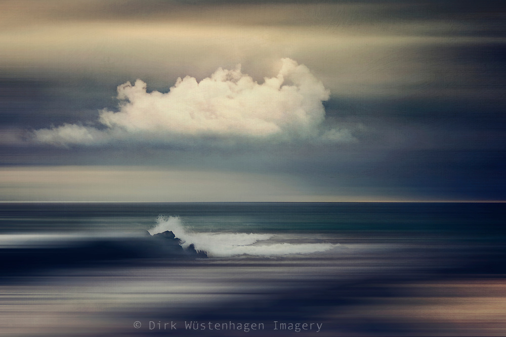 Abstract seascape with cloud and breaking waves - photomanipulation