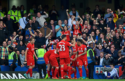 LONDON, ENGLAND - Saturday, October 31, 2015: Liverpool players and supporters celebrate the second goal scored by Philippe Coutinho Correia against Chelsea during the Premier League match at Stamford Bridge. (Pic by Lexie Lin/Propaganda)