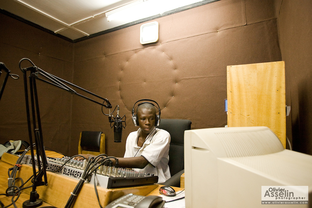 Rural radio station in Builsa, Ghana on Monday October 5, 2009.