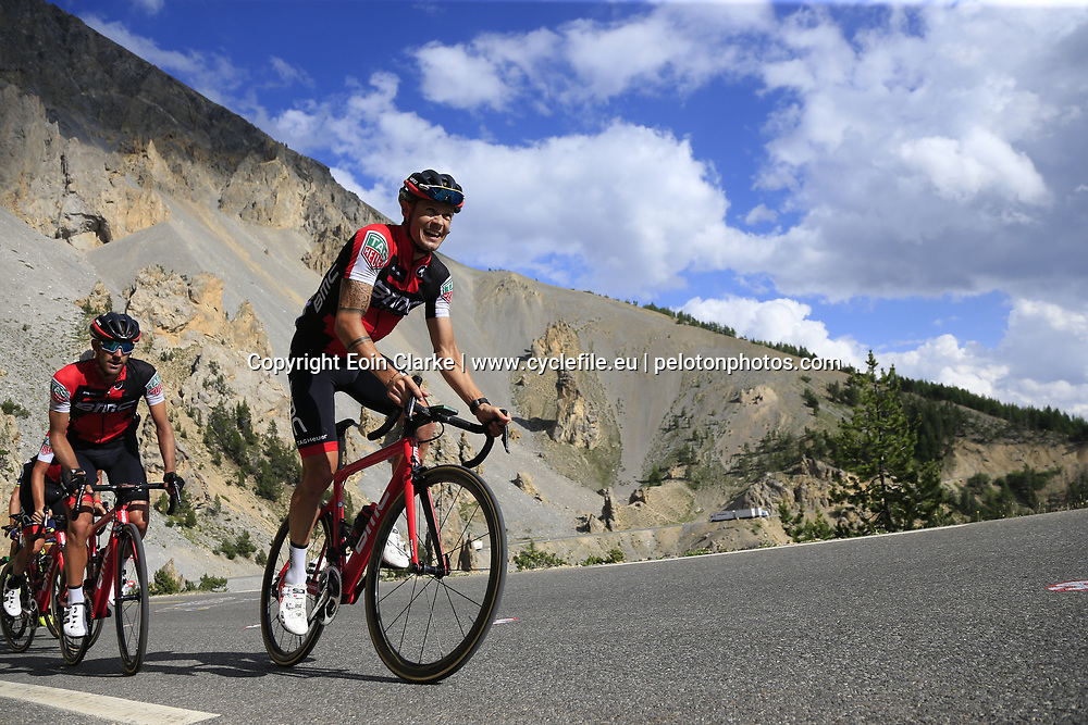 Nicolas Roche (IRL) BMC Racing Team climbs through the Caisse Deserte on Col d'Izoard during Stage 18 of the 104th edition of the Tour de France 2017, running 179.5km from Briancon to the summit of Col d'Izoard, France. 20th July 2017.<br /> Picture: Eoin Clarke | Cyclefile<br /> <br /> All photos usage must carry mandatory copyright credit (&copy; Cyclefile | Eoin Clarke)