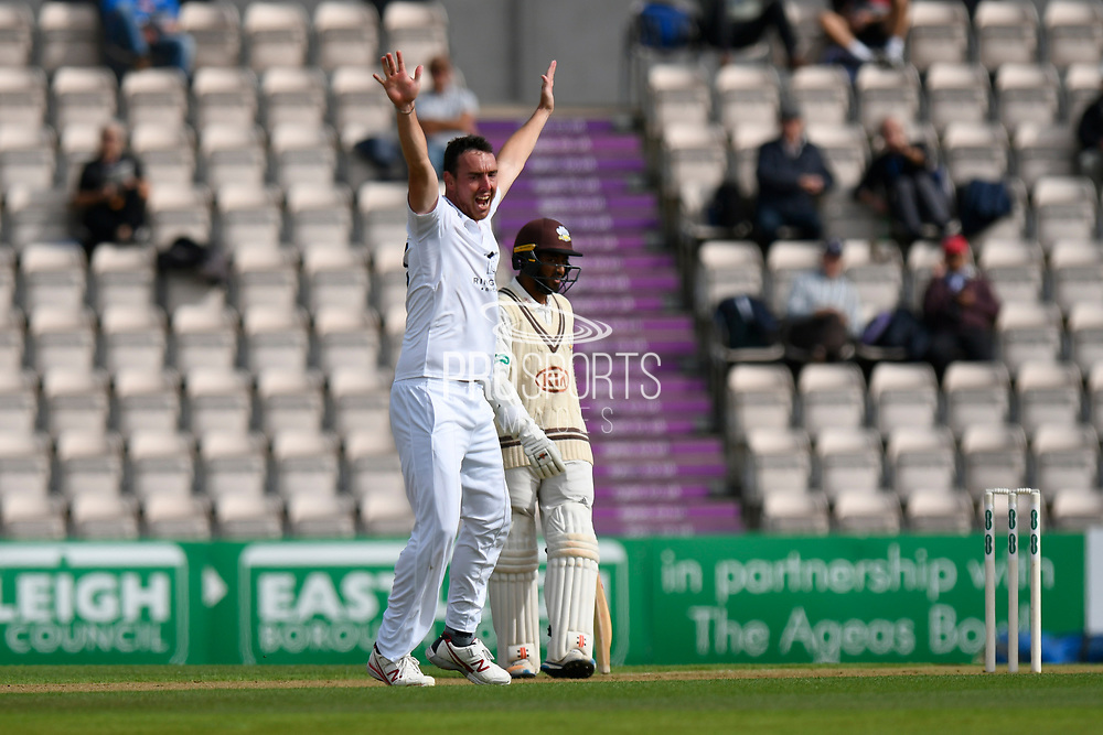 Wicket - Kyle Abbott of Hampshire appeals for and lbw against Jason Roy of Surrey who is given out during the Specsavers County Champ Div 1 match between Hampshire County Cricket Club and Surrey County Cricket Club at the Ageas Bowl, Southampton, United Kingdom on 6 September 2017. Photo by Graham Hunt.