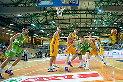Alen Omic of Slovenia vs Ihor Zaytsev and Aleksandr Lypovyy of Ukraine  during friendly basketball match between National teams of Slovenia and Ukraineat day 1 of Adecco Cup 2015, on August 21 in Koper, Slovenia. Photo by Grega Valancic / Sportida