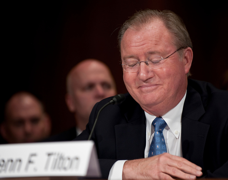 May 27, 2010 - Washington, District of Columbia, U.S., - Glenn Tilton, chairman, president and CEO of United Airlines reacts to testimony from Darren Bush, associate professor of law at the University of Houston Law Center during a Senate Judiciary Committee Hearing on the  the United and Continental Airlines Merger. .(Credit Image: © Pete Marovich/ZUMA Press)