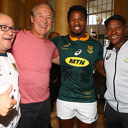 Charles Wessels Operational Head of South Africa with Rob Louw former South African rugby player Sikhumbuzo Notshe of South Africa and JJ Fredericks (Logistics Manager) duringthe South African Springbok team photo, <br /> at the The Cullinan Hotel in Cape Town.South Africa. 22,06,2018 22,06,2018 Photo by (Steve Haag JMP)