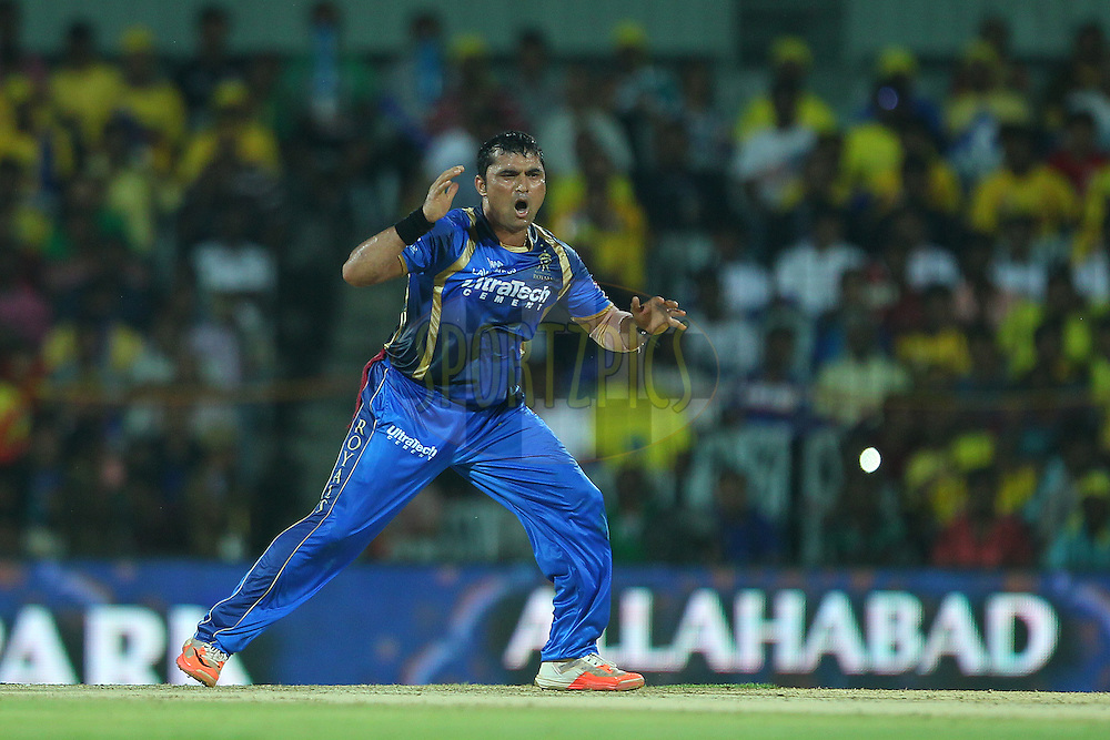 Pravin Tambe of the Rajasthan Royals reacts after a delivery  during match 47 of the Pepsi IPL 2015 (Indian Premier League) between The Chennai Superkings and The Rajasthan Royals held at the M. A. Chidambaram Stadium, Chennai Stadium in Chennai, India on the 10th May 2015.<br /> <br /> Photo by:  Ron Gaunt / SPORTZPICS / IPL