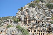 Ancient Lycian tombs set in a cliff face<br /> Myra, Turkey<br /> c. Ellen Rooney