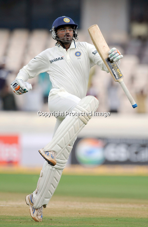 Indian batsman Harbhajan Singh celebrates 2nd test century against New Zealand during the 2nd test match Indian vs New Zealand day-4 Played at Rajiv Gandhi International Stadium, Uppal, Hyderabad, 15 November 2010 (5-day match)