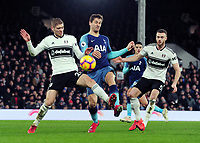 Football - 2018 / 2019 Premier League - Fulham vs. Tottenham Hotspur<br /> <br /> Fernando Llorente of Tottenham is challenged by Maxime le Marchand and Calum Chambers, at Craven Cottage.<br /> <br /> COLORSPORT/ANDREW COWIE