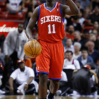 21 January 2012: Philadelphia Sixers point guard Jrue Holidays (11) brings the ball up court during the Miami Heat 113-92 victory over the Philadelphia Sixers at the AmericanAirlines Arena, Miami, Florida, USA.