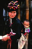 Black Tai minority woman and child, Vietnam