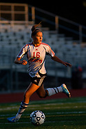 Hickory's Allison Richards dribbles the ball up the field as the sun sets in a game against Sharpsville on September 20, 2010 at Hornet Stadium in Hermitage, PA.