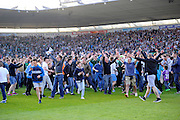 Plymouth fans invade the pitch after their team beats Portsmouth to reach the play-off final during the Sky Bet League 2 play off first leg match between Plymouth Argyle and Portsmouth at Home Park, Plymouth, England on 15 May 2016. Photo by Graham Hunt.