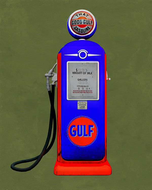 An isolated Gulf gas station pump. The level of detail in this piece is simply astonishing, particularly in terms of the Shell Gasoline pump.<br />