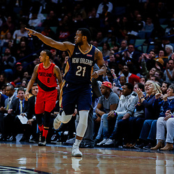 Jan 12, 2018; New Orleans, LA, USA; New Orleans Pelicans forward Darius Miller (21) reacts after a three point basket against the Portland Trail Blazers during the second half at the Smoothie King Center. The Pelicans defeated the Trail Blazers 119-113. Mandatory Credit: Derick E. Hingle-USA TODAY Sports