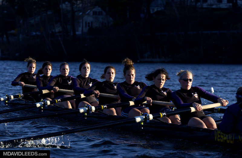 WORCESTER, MA- APRIL 24:    Members of the women's crew team as seen during practice at on April 24, 2003 at The College of the Holy Cross in Worcester, Massachusetts.   (Mandatory Credit:  M. David Leeds)