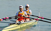 Munich, GERMANY, 27.08.2007, CHN LW2X, Bow Dongxiang XU and Haixia CHEN, on the second day on the  Munich Olympic Regatta Course, venue for 2007 World Rowing Championship, Bavaria. [Mandatory Credit. Peter Spurrier/Intersport Images]..... , Rowing Course, Olympic Regatta Rowing Course, Munich, GERMANY