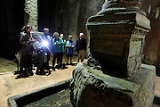 people photographing the Medusa head inside the Basilica Cistern Istanbul Turkey