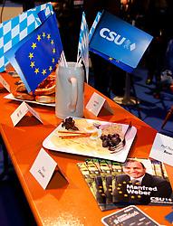 06.03.2019, Dreiländerhalle, Passau, GER, Politischer Aschermittwoch der CSU, im Bild Tischdekoration beim Politischen Aschermittwoch // during the Political Ash Wednesday of the CSU Party at the Dreiländerhalle in Passau, Germany on 2019/03/06. EXPA Pictures © 2019, PhotoCredit: EXPA/ SM<br /> <br /> *****ATTENTION - OUT of GER*****