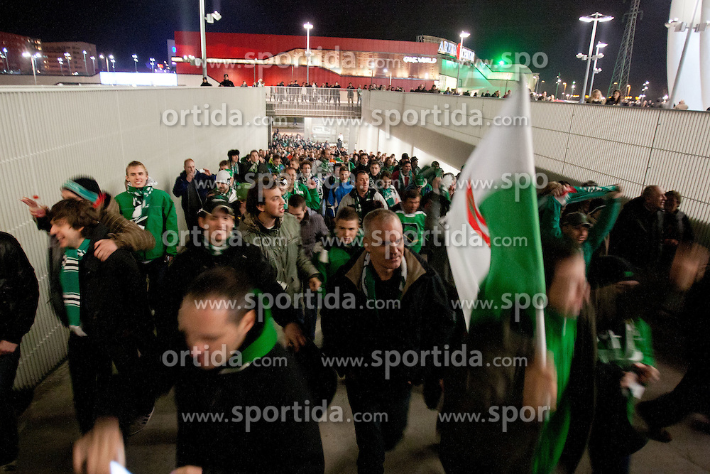 Fans of Olimpija prior to ice-hockey match between KHL Medvescak Zagreb and HDD Tilia Olimpija in 43rd Round of EBEL league, on Januar 17, 2012 at Arena Zagreb, Zagreb, Croatia. (Photo By Matic Klansek Velej / Sportida)