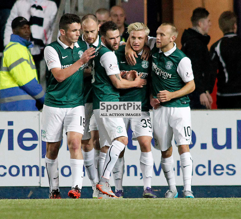 Jason Cummings is congratulated after putting Hibs 1-0 ahead<br /> in the Scottish Championship Match at the Falkirk Stadium(c) Andrew West | SportPix.org.uk