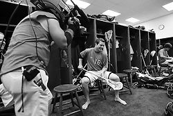 28 May 2007: Duke Blue Devils attackman Max Quinzani (16) with an ESPN TV camera pregame in the locker room before playing Johns Hopkins in the NCAA Championship at M&T Stadium in Baltimore, MD.