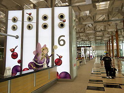 Interior of Departures hall with modern design of ventilation system at Changi Airport new Terminal 3