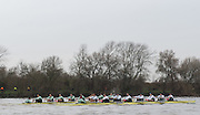 London, Great Britain, Cambridge, left Fuete and right, Listo in the opening stage of the BNY Mellon, 2016 University Men's Boat Race, Trail Eights Race.  Putney to Mortlake. ENGLAND. <br /> <br /> Sunday 13.12.2015<br /> <br /> [Mandatory Credit; Peter Spurrier/Intersport-images]<br /> <br /> CUBC Trial VIII's between FUERTE on Surrey and LISTO on Middlesex<br /> <br /> FUERTE, Bow, Peter Carey, 2, Patrick Elwood, 3, Alister Taylor, 4, Peter Rees, 5, Charlie Fisher, 6, Ali Abbasi, 7, Luke Juckett, Stroke, Lance Tredell, Cox, Ian Middleton<br /> <br /> LISTO, Bow, Piers Kasas, Felix Newman, 3, Sam Ringer, 4, Joe Carroll, 5, Clemens Auersperg, 6, Vincent Bertram, 7, Henry Hoffstot, Stroke, Ben Ruble, Cox, Hugo Ramambason