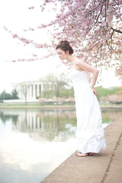 Jessica Cain in the cherry blossoms, Jefferson Memorial, Washington, DC.