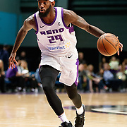 Reno Bighorns Forward JAKARR SAMPSON (29) drives during the Western Conference Semi-Final NBA G-League Basketball game between the Reno Bighorns and the South Bay Lakers at the Reno Events Center in Reno, Nevada.
