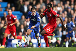 Eden Hazard of Chelsea under pressure from Daniel Amartey of Leicester City - Mandatory by-line: Jason Brown/JMP - 15/10/2016 - FOOTBALL - Stamford Bridge - London, England - Chelsea v Leicester City - Premier League