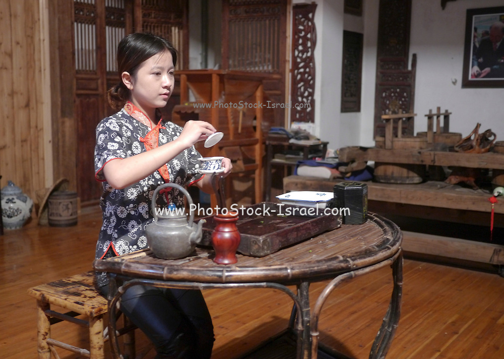 Traditional Chinese tea ceremony at the Mei Jia Wu tea plantation, Hangzhou, China