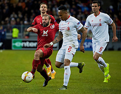 KAZAN, RUSSIA - Thursday, November 5, 2015: Liverpool's Nathaniel Clyne in action against Rubin Kazan during the UEFA Europa League Group Stage Group B match at the Kazan Arena. (Pic by Oleg Nikishin/Propaganda)