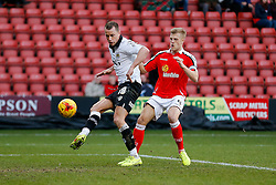 Aaron Wilbraham of Bristol City shoots  but it comes off the upright - Photo mandatory by-line: Rogan Thomson/JMP - 07966 386802 - 20/12/2014 - SPORT - FOOTBALL - Crewe, England - Alexandra Stadium - Crewe Alexandra v Bristol City - Sky Bet League 1.